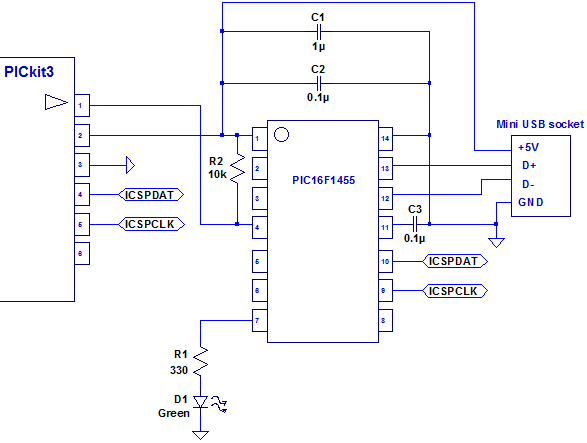 PIC16F1455Pgm Usb Interface Schematic on wireless schematic, air conditioning schematic, camera schematic, audio schematic, mixer schematic, memory schematic, usb interface cable, remote control schematic, buzzer schematic, usb interface electronics, parallel schematic, gps schematic, battery schematic, hdmi schematic, clock schematic, bluetooth schematic, stereo amplifier schematic, usb interface board, headphone jack schematic, lcd schematic,