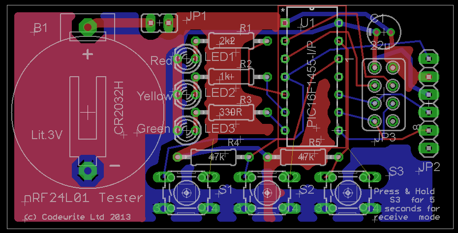 nRF24L01 Test board PCB | PIC Tutorials
